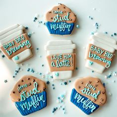 Break Apart Gender Reveal Sugar Cookies: A DIY Tutorial - Kisses + Caffeine Little Stud muffin Baby sugar cookie set! Sugar Cookie Dough, Sugar Cookies, Animal Shaped Foods, Baby Shower Gender Reveal, Baby Gender, Gender Reveal Cookies, Coffee Cookies, Coffee Theme, Stud Muffin