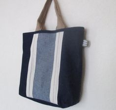 Denim fabric shopper tote bag by Mayflair on Etsy, £15.00