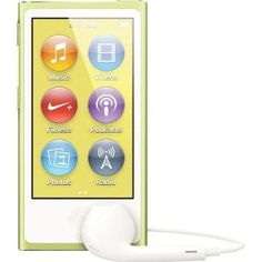 Apple iPod nano 16GB Yellow (7th Generation) NEWEST MODEL by Apple. $139.00. From the Manufacturer                 The redesigned, ultraportable iPod nano now has a larger, 2.5-inch Multi-Touch display. Play your favorite songs, browse music by genre, or listen to Genius playlists and FM radio. Or watch movies and widescreen videos on the bigger screen. A perfect workout partner, iPod nano tracks your steps, your runs, and burned calories and syncs to the Nike+ website to...