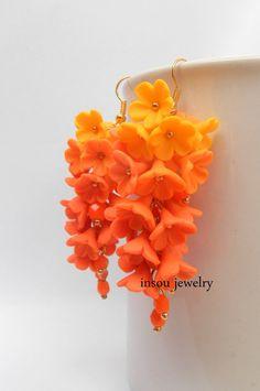 Flower earrings  Ombre earrings  Orange yellow  by insoujewelry