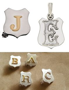 Shield badge or pendant for boys or girls in personalised sterling Silver or Gold initials, online Initial Pendant, Gold Pendant, Gifts For Father, Fathers, Tie Clips, Gold Letters, Sterling Silver Cuff, Hand Engraving, Birthstones