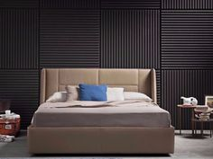 Imitation leather double bed with upholstered headboard MAYA by Novaluna design Giovanni Pesce