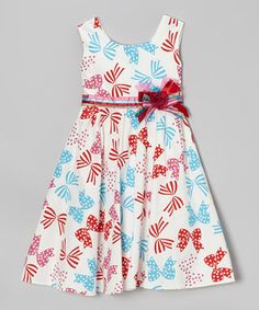 This Blue & Red Bow Dress - Toddler & Girls by Bonny Billy is perfect! #zulilyfinds