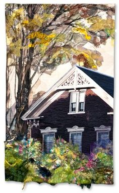 """""""Remains of the Day"""" quilt by Carol Goossens,  Empire Quilters Guild (New York).  The gabled house (a Photoshop rendering of a photo by Don Shall) was commercially printed on cotton."""