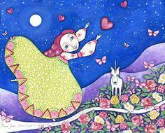 Unicornio chica arte arte grabado pintura mujer por LindyLonghurst