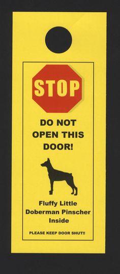 Fluffy Little Doberman Pinscher Inside - Do Not Open Door