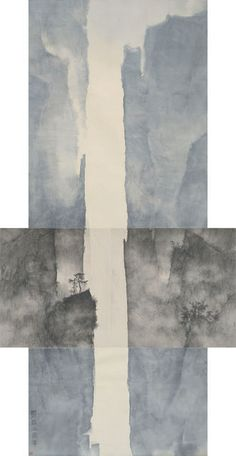 Available for sale from Beijing Center for the Arts, Li Huayi, Mountain and details of the Mountain (2010), Ink and color on paper, 369 × 145 × 96 cm