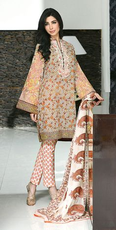 Multicolor Embroidered Cotton Lawn Dress - PakRobe