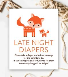 Baby Shower Activity – Late Night Diapers – Rustic Woodland Fox – Instant Download Printable