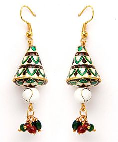 Green, Off White and Maroon Meenakari Earring