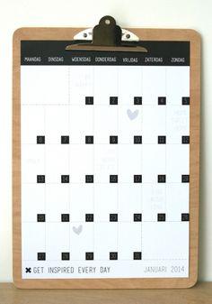 Houtprint klembord + maandplanner | PAPIER / KAARTEN | Dots Lifestyle