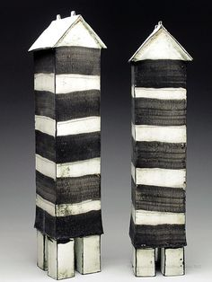 Mary Fischer Striped Tower Sculpture at MudFire Gallery Interesting accessory for building centre.