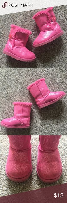 Girls pink boots! Size 7 toddler! Sparkly pink boots! So much fun!! Excellent condition!! Nice and warm with a fuzzy lining. Smoke free home. Very little ware. Circo Shoes Boots