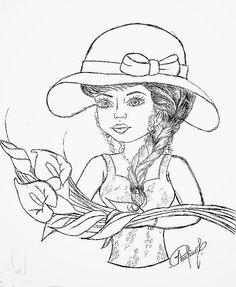 pintura flores riscos | desenho de boneca com ramo de copos de leite para pintar em pano de ... Paper Dolls, Art Dolls, Embroidery Patterns, Hand Embroidery, Coloring Books, Coloring Pages, Painting Templates, Sketchbook Drawings, One Stroke Painting
