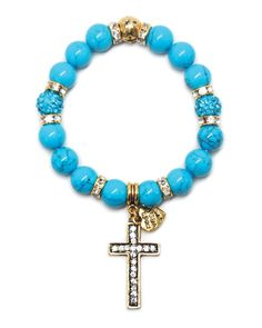 Turquoise Bead and Cross Charm Bracelet