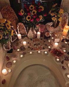 Crystal bath x Spiritual Bath, Crystal Aesthetic, Images Esthétiques, Dream Bath, Meditation Space, My New Room, Crystals And Gemstones, Bath Crystals, Healing Crystals