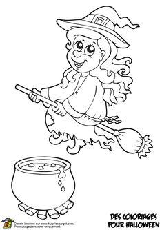 Coloriage de la douce sorcière sur son balai