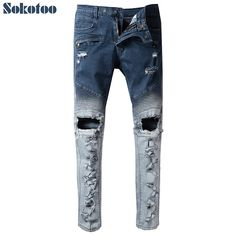 d5e06d7dc5 Sokotoo Men s blue patchwork holes ripped biker jeans for motorcycle Casual  slim torn stretch denim pants-in Jeans from Men s Clothing   Accessories on  ...