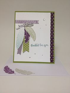 Stampin Up Express Yourself, Four Feathers stamp set, and Feathers Thinlits. And I LOVE the added sparkle of the silver ribbon and the splash of rhinestones!