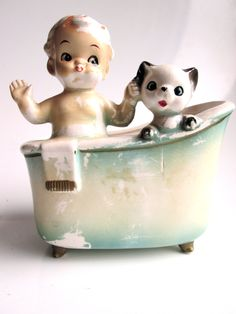 antique porcelain planter vintage bathroom by LemonRoseStudio