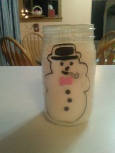 The back side of snowman jar
