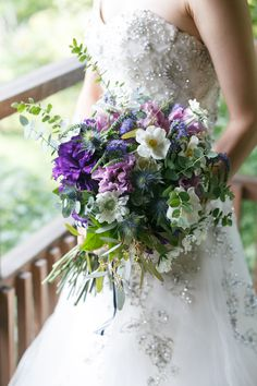 So pretty! Just the right amount of greenery mixed in. Purple Wedding Decorations, Purple Wedding Bouquets, Wedding Flowers, May Weddings, Pantone, Floral Arrangements, Marie, Wildflowers, Florals
