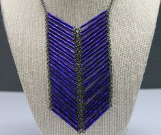 SALE Vintage cobalt chevron necklace by girlsewcute on Etsy, $37.50