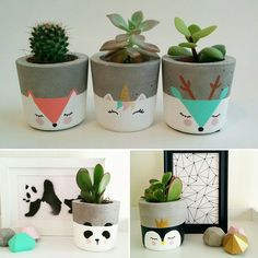 DIY Pretty Face Planters - Gold Standard WorkshopDIY Painted Face flower pots from Gold Standard WorkshopBest floral design painting flower pots ideasBest flower design painting flower pots ideas Flower Pots Diy Plants 34 Painted Plant Pots, Painted Flower Pots, Decorated Flower Pots, Painted Pebbles, Concrete Pots, Concrete Crafts, Diy Y Manualidades, Fleurs Diy, Diy Flowers