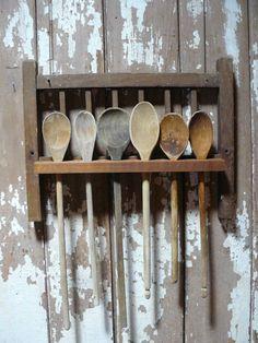 Antique Wooden Primitive Refurbish Spoon Rack With Spoons...cute