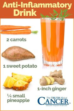 We know that one of the keys to good health is keeping inflammation to a minimum. Here is a great anti-inflammatory drink which you will love: 2 carrots, 1 sweet potato, small pineapple, ginger. To learn more about anti-inflammatory herbs and s Healthy Juice Recipes, Healthy Juices, Healthy Smoothies, Healthy Drinks, Smoothie Recipes, Healthy Snacks, Breakfast Smoothies, Best Juicing Recipes, Banana Smoothies