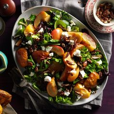 Roasted Apple Salad with Spicy Maple-Cider Vinaigrette Christmas Salad Recipes, Healthy Thanksgiving Recipes, Thanksgiving Food, Fall Recipes, Christmas Entrees, Holiday Recipes, Holiday Meals, Roasted Apples, Roasted Butternut
