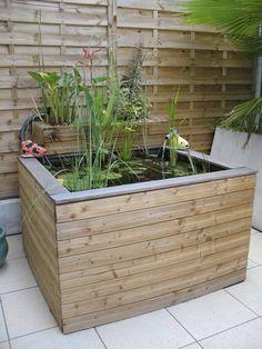 Amenagement autour du bassin : jardinières de fleurs de saison ...