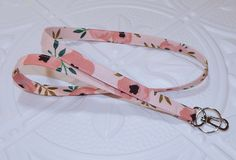 Pink Flower Fabric Lanyard - Breakaway Lanyard - Id Badge Holder - Key Lanyard - Neck Lanyard - Key Chain Tropical Outfit, Flower Fabric, Id Badge Holders, Key Chain, Pink Flowers, Fabric Design, Great Gifts, Personalized Items, Etsy
