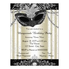 Masquerade Party Invitations Ivory and Black Pearl Glitter Masquerade Party Card