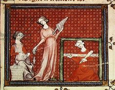 Credit: Ms 1044 f.101 Women Spinning Wool, from Ovide Moralise written by Chretien Legouais (vellum), French School, (14th century) / Bibliotheque Municipale, Rouen, France