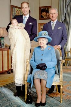 Prince William Duke of Cambridge; Prince Charles;  Queen Elizabeth;  Prince George's christening.