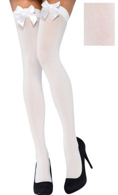 254e08c3e Adult White Thigh-High Stockings with Bows