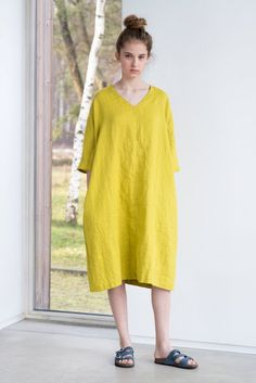 The Clarisse linen kimono tunic/dress Linen Tunic Dress, Linen Dresses, Not Perfect Linen, Kimono, Valencia, Formal Looks, Boho, Linen Fabric, Cotton Linen