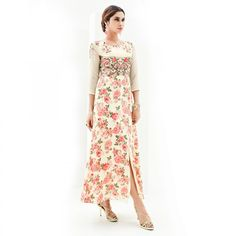 Buy Cream Print & Embroidered Work Georgette Kurti for womens online India, Best Prices, Reviews - Peachmode