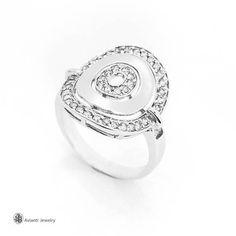 Bulgari Design 14k White Gold Ring With Diamonds Modern