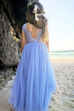lace flower girl dresses blue v back lace top arabella and rose Lilac Flower Girl Dresses, Fall Flower Girl, Girls Blue Dress, Light Blue Dresses, Lace Flower Girls, Homecoming Dresses Long, Prom Dresses With Sleeves, Lace Dress With Sleeves, Long Bridesmaid Dresses