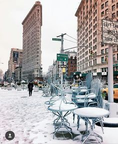 Flatiron Building in the winter.