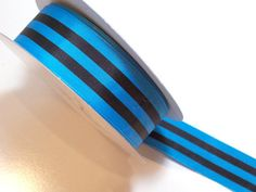 Offray Power Stripe Ribbon 1 1/2 inches wide x 10 yards, Turquoise, Blue Black #Offray