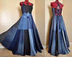 New Blue Bloom Long Patchwork Denim Dress Ooak by BarefootModiste
