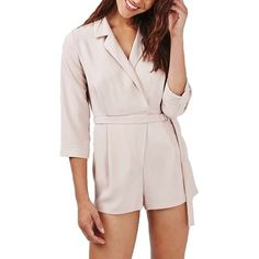 Petite Women's Topshop 'Alexa' Belted Notch Collar Surplice Romper (62.935 CLP) ❤ liked on Polyvore featuring jumpsuits, rompers, nude, petite, surplice romper, playsuit romper, pink rompers, topshop rompers and topshop romper