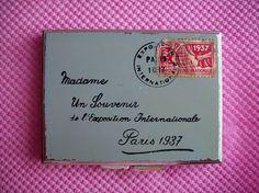 Rare Figural ENVELOPE Compact 30 s Paris Exposition Vintage Powder AUSTRIA NR
