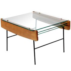 André Monpoix; Wood and Painted Metal Coffee Table with Removable Glass Trays, c1950.