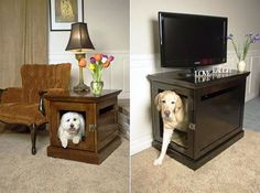 side table cute... dog under my expensive tv.. not so much!