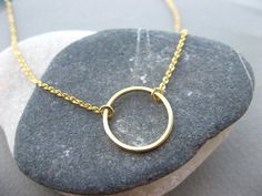 Simple Gold Necklace Gold Circle Necklace Small Gold by ShebasGems