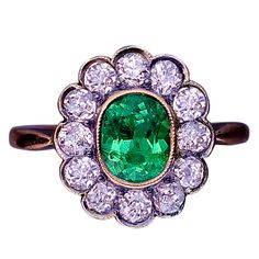 Antique Russian Emerald and Diamond Cluster Ring